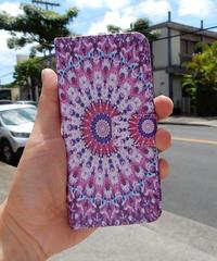mb-iphone-02133 手帳型 エスニック柄グラデーション ピンク カード収納付き iPhoneケース