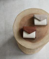 leather-09002 牛革 × キャンバス レターデザイン 財布 グレージュ ブラウン