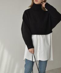 knit-02113 タートルネック ショートニット ブラック