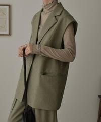 jacket-02002 テーラード ボックス ベスト エクリュ オリーブ
