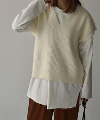 knit-02093 Vネック ケーブルニットベスト オフホワイト
