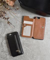 mb-iphone-02494 手帳型 フェイクレザー カード収納 チャック付き iPhoneケース