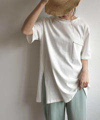nh-tops-02157 ポケット付き カットオフ オーバーサイズ Tee ホワイト ダスティパープル ブラック