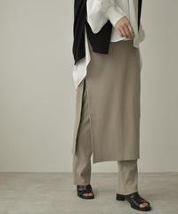 bottoms-04041 日本製 リブ レイヤード スカート パンツ グレージュ ブラック