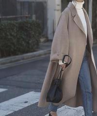 12月上旬再入荷分 予約販売 coat-02001 ワイドスリーブ ロング ウールガウンコート リバー仕立て ミルクティーベージュ