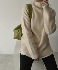 knit-02059 タートルネックオーバーニット アイボリー グレー