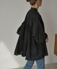 tops-04073 日本製 コットン ギャザー ボリューム シャツ モカ ブラック