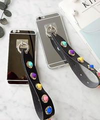 mb-iphone-02315 コーンスタッズ付きストラップ メタリック iPhoneケース