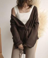 knit-02039 ベルト付きショートニットガウン カーディガン ブラウン