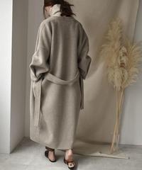 coat-06001 ノーカラー ウール ロングガウンコート リバー仕立て オートミール