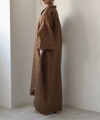 onepiece-04001 日本製 コットンリネン ルーズロングシャツ ワンピース エクリュ ブラウン