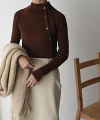 knit-02075 ボタンデザイン リブ ハイネック  ニット ブラック ブラウン ダスティブルー アイボリー