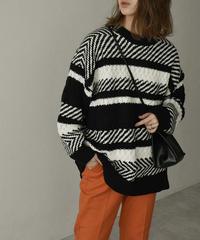 knit-02128 ランダム  ジャガード ニット プルオーバー ブラック