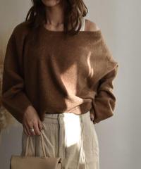 knit-02017 ウールブレンド 変形Vネック ワンショルダーニット ベージュ モカ ブラウン