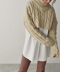 knit-02116 ケーブル編みタートル ショート ニット ベージュ グレー