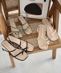 shoes-02103 サムクロスサンダル エクリュ ピスタチオ ブラック