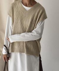 knit-02048 ウール混 ケーブル オーバーVネックニットベスト ベージュ