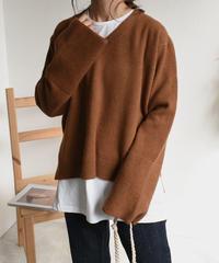 knit-02060 Vネックワイドスリーブ ニット ベージュ ブラウン