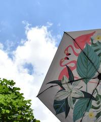 raingoods-02010 フラワー&フラミンゴ 折りたたみ傘 日傘 雨傘 晴雨兼用 6本骨 8本骨