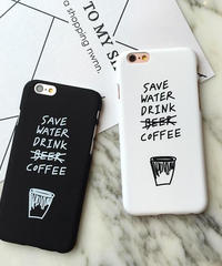 mb-iphone-02240 SAVE WATER DRINK COFFEE ブラック ホワイト iPhoneケース