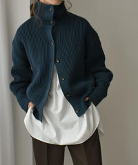 knit-02112  ローゲージ スタンドネック2wayニット ターコイズ ベージュ