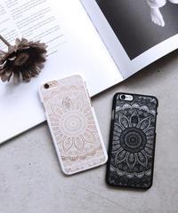 mb-iphone-02020 エスニック柄 ブラック ホワイト iPhoneケース