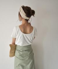 nh-tops-04042 日本製 バックオープン クルーネック Tシャツ  オフホワイト キャメルブラウン ダスティパープル