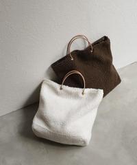 bag2-02476 本革ハンドル ボアトートバッグ オフホワイト ダークブラウン
