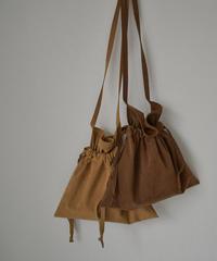nh-bag2-02550 日本製 エコスエード エプロン 巾着バッグ モカブラウン キャメルベージュ