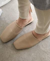 shoes-02058 スクエアトゥ スリッパサンダル フラットサンダル