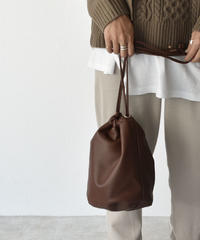nh-bag2-02474 エコレザー 巾着バッグ ブラウン ダークブラウン ブラック