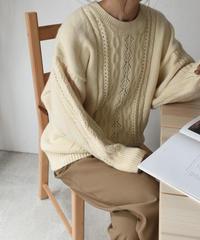 knit-02073 クルーネックケーブルニット アイボリー