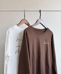 tops-02017  ヴィンテージ風 ロゴデザインロングTシャツ ホワイト  ブラウン