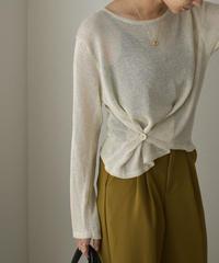 nh-knit-02133 変形ニットプルオーバー エクリュ キャメル チャコール