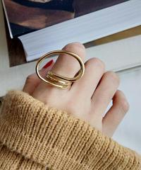 mb-ring2-02037 SV925 立体ツイストフープデザインリング シルバー925 ゴールド