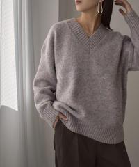 knit-02120 Vネック ミックスカラーニットプルオーバー パープルミックス ブラウンミックス