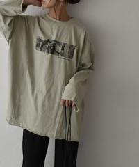 nh-tops-02187 ロングスリーブ フォトTシャツ ピスタチオ