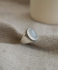 mb-ring2-02126 SV925 天然石(ホワイトアゲート)リング  シルバー925