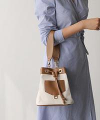 bag2-02359 バイカラー 太ベルト巾着バッグ ショルダーバッグ ハンドバッグ