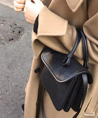 bag2-02450 クロコ型押し 3ポケット ショルダーバッグ ハンドバッグ ブラック