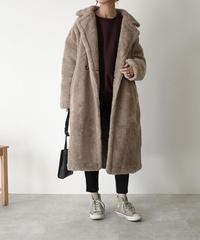 12月上旬入荷分 予約販売 coat-02026 ウール混 ボリュームボアコート モカ