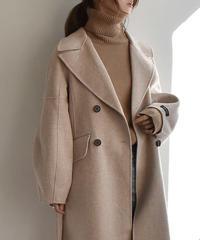coat-02006 バルーンスリーブ ウール ダブルコート リバー仕立て ミルクティー ベージュ