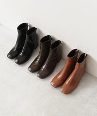 shoes-02086 エコレザー スクエアトゥ ショートブーツ ブラウン ダークブラウン ブラック