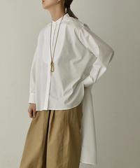 tops-04068 日本製 ステップドヘム ビブカラーシャツ ホワイト