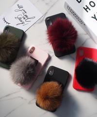mb-iphone-02394   iPhoneXケース エコファーポンポン ベルト付き 落下防止 iPhoneケース
