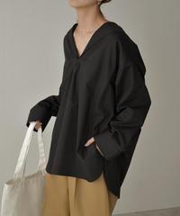 tops-04067 日本製 セーラーカラーシャツ ホワイト ブラック