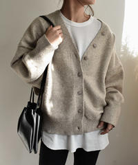 knit-02021 オーバーサイズ ウール混 コクーンカーディガン エクリュ モカ グレー