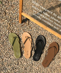 nh-shoes-02066 アースカラートングサンダル ライトカーキ ベージュ ブラック ブラウン