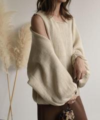 9月下旬~10月上旬入荷分 予約販売 knit-02037 ボリュームニットスリーブ&ニットベスト ベージュ