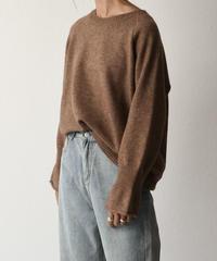 knit-02058 フレアスリーブ ニット プルオーバー ベージュ ブラウン